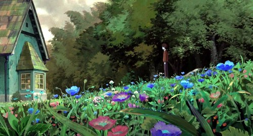 Studio Ghibli wallpaper possibly with an oleander, a flowerbed, and a red buckeye titled The Secret World of Arrietty Scenery