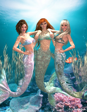Three mermaid Besties