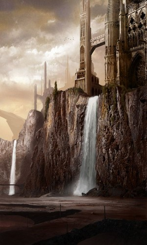 J.R.R. Tolkien wallpaper with a fountain titled Valinor