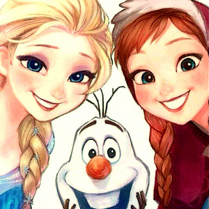 Walt Disney Fan Art - Queen Elsa, Olaf & Princess Anna