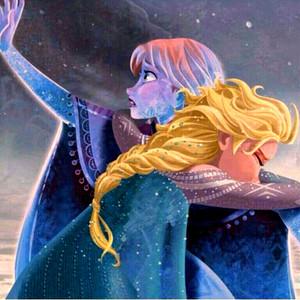 Walt डिज़्नी प्रशंसक Art - Princess Anna & क्वीन Elsa