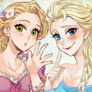 Walt 디즈니 팬 Art - Princess Rapunzel & 퀸 Elsa