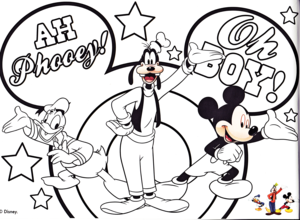 Walt Disney Coloring Pages - Donald Duck, Goofy Goof & Mickey Mouse