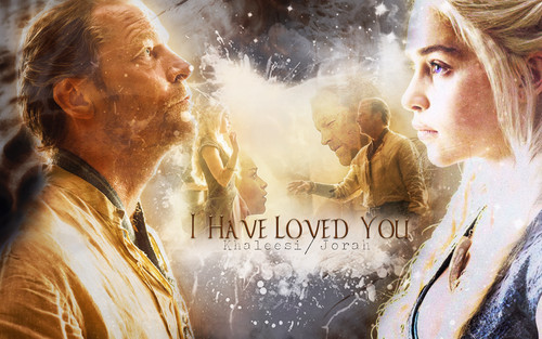 laro ng trono wolpeyper possibly with a apoy and a portrait titled Jorah Mormont & Daenerys Targaryen