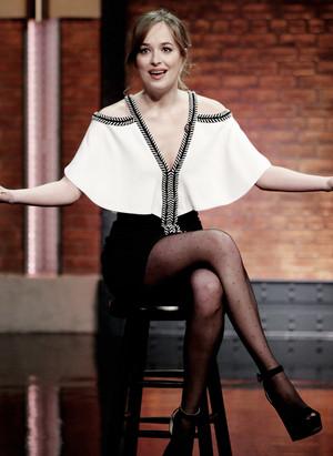 Dakota Johnson on Late Night with Seth Meyers on January, 25