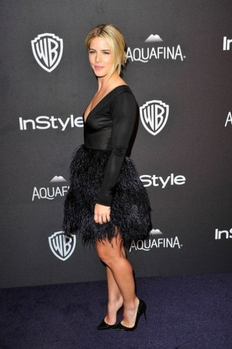 Emily Bett Rickards achtergrond containing a cocktail dress and a playsuit, boxpakje titled January 10th 2016, InStyle And Warner Bros. 73rd Annual Golden Globe Awards Post-Party