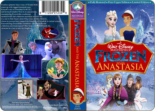 Disney wallpaper containing anime titled A Walt Disney Masterpiece Frozen And The Anastasia VHS Black