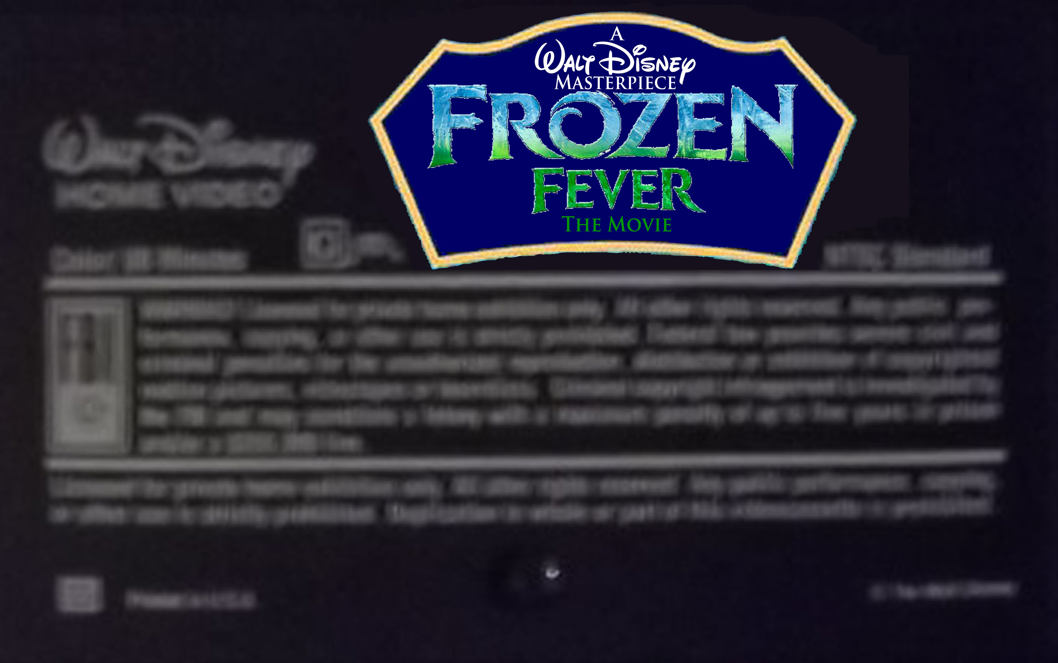 A Walt disney Masterpiece frozen Fever The Movie (1998) VHS Black