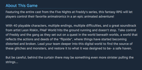 Five Nights at Freddy's kertas dinding titled About the Game - Fnafworld