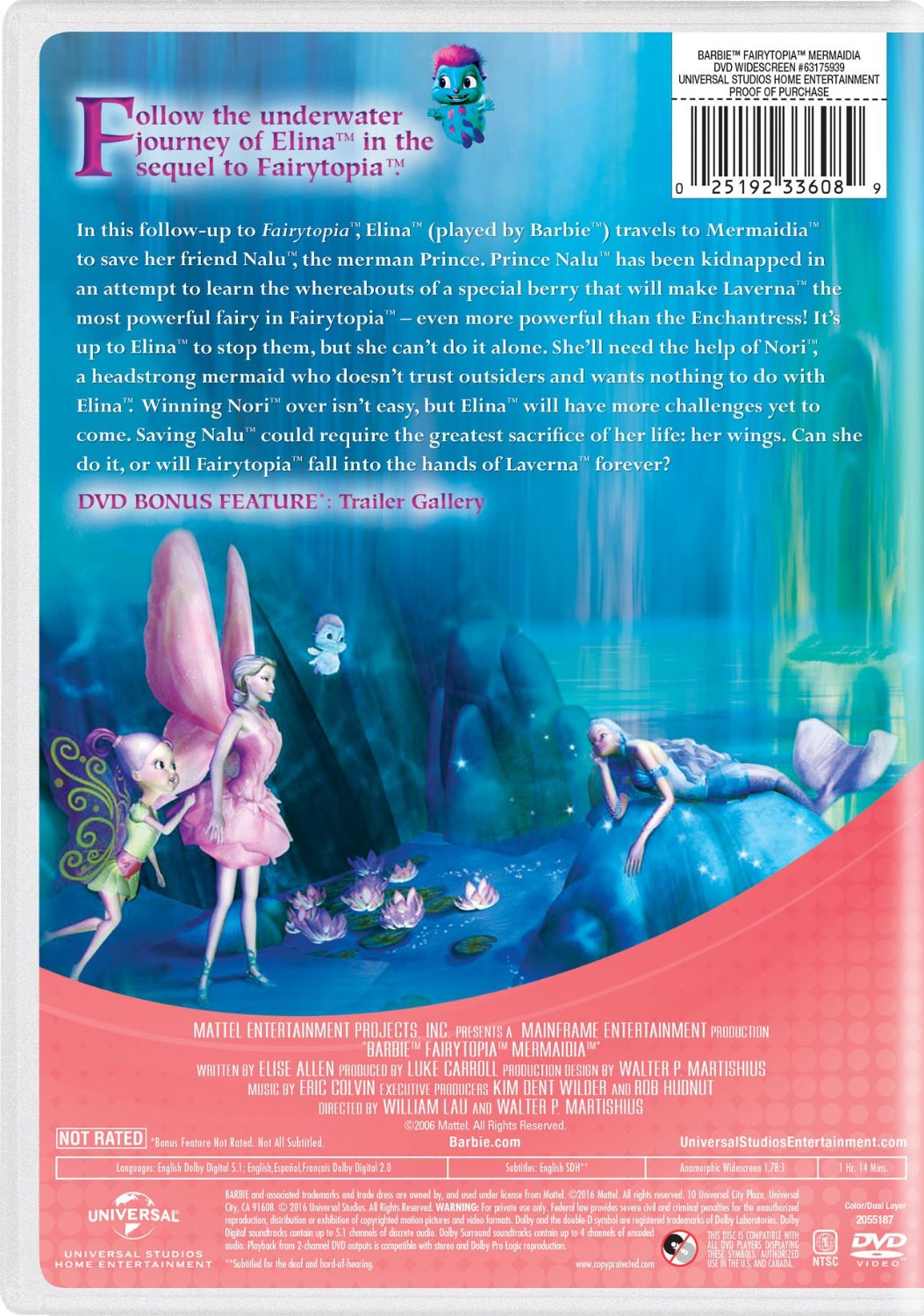 बार्बी Fairytopia: Mermaidia 2016 DVD with New Artwork