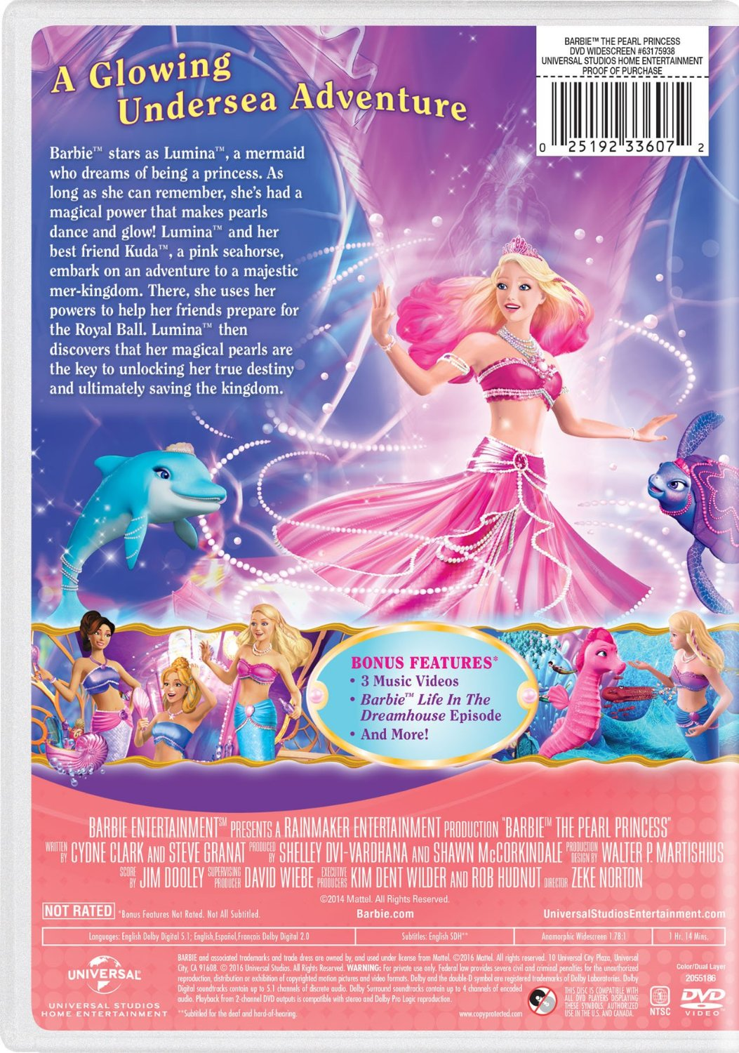 Barbie: The Pearl Princess 2016 DVD with New Artwork