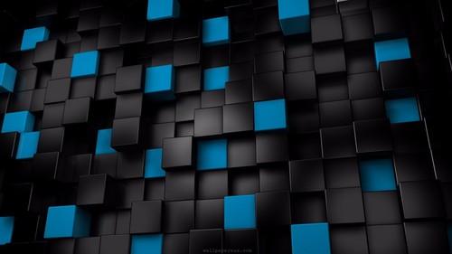 アルファベット 壁紙 entitled Black and Blue 3D 4K 壁紙