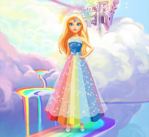 Sinema za Barbie karatasi la kupamba ukuta called Dreamtopia - Barbie (Rainbow Princess)