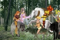 Ember and the other wolfriders team up to capture an beautiful wild white stallion - elfquest fan art