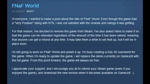 Five Nights at Freddy's achtergrond called Fnaf world removed from steam