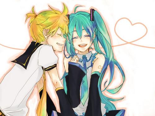hatsune miku wallpaper titled Hatsune Miku and Kagamine Len