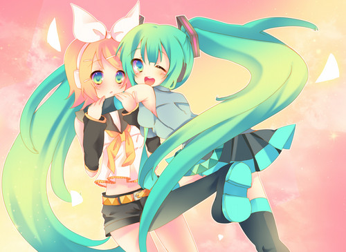 hatsune miku wallpaper entitled Hatsune Miku and Kagamine Rin