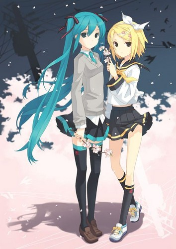hatsune miku wallpaper possibly with animê titled Hatsune Miku and Kagamine Rin
