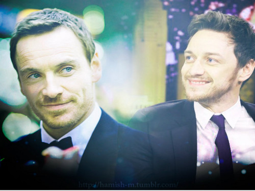James McAvoy and Michael Fassbender wallpaper containing a business suit, a suit, and a single breasted suit entitled James & Michael ★