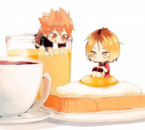 Haikyuu!!(High Kyuu!!) wallpaper possibly with a coffee break called Kenma and Hinata~