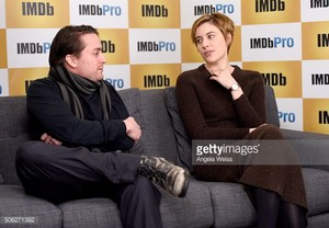 Kieran and Greta Gerwig at IMDb studio promoting Wiener Dog