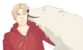 Mattie and Kumajirou as an adult Polar Bear - hetalia fan art