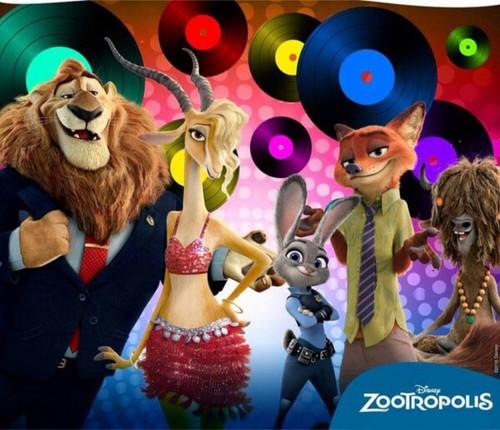 Disney's Zootopia Hintergrund titled Mayor Lionheart, Gazelle, Judy, Nick and Yax