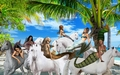 Mermaids hang out on the beach while riding their beautiful unicorns - mermaids fan art
