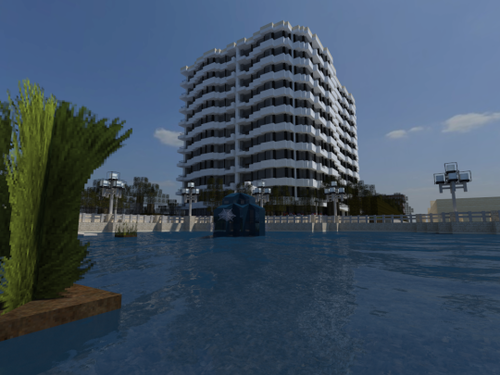 Minecraft wolpeyper containing a business district, a skyscraper, and a resort titled Minecraft
