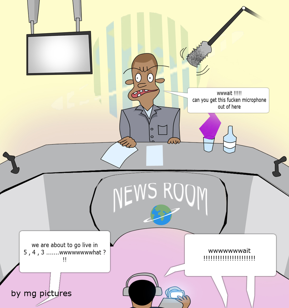 NEWS ROOM BEFORE LIVE BY MAC G CANDYS HOUSE