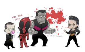 Negasonic, Deadpool, Colossus, and एंजल Dust