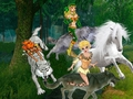 Nightfall, Dewshine, and Ember riding their wolves to capture an beautiful wild white horse - elfquest fan art
