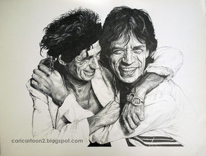 Portrait of Mick Jagger and Keith richards - Rolling Stones