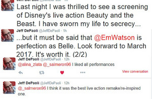 Reactions to screening of Beauty and the Beast