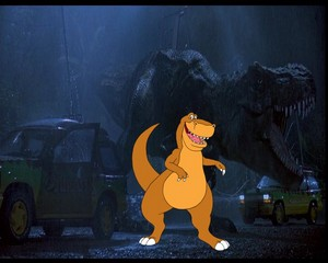 Rex e il tirannosauro di Jurassic Park