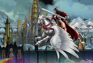 Sif flying through Asgard on Aragorn as her new Beautiful Pegasus ros