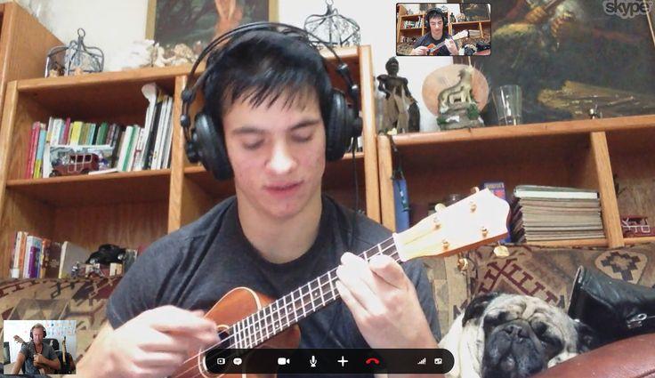 Skype Ukulele Lesson with Pug