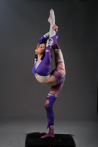 Contortion achtergrond possibly containing tights and a leotard called Stand spleet, split