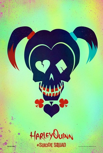 Suicide Squad 壁纸 probably with a sign titled Suicide Squad Skull Poster - Harley Quinn
