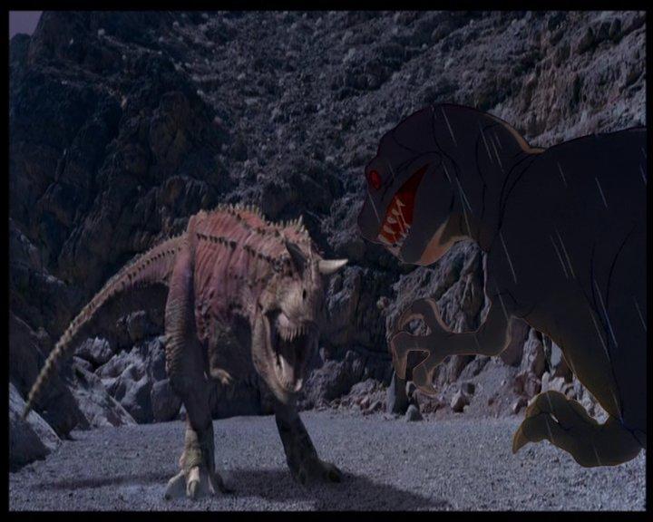 T-rex contro Carnotauro in stile disney