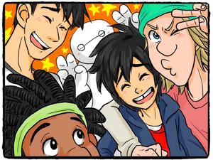 Tadashi, Baymax, Wasabi, Hiro and Fred