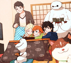 Tadashi and Hiro with Anna, Elsa, Baymax, Olaf and Mochi