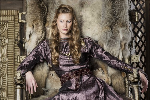 Vikings (TV Series) achtergrond with a vacht, bont jas entitled Vikings Aslaug Season 4 Official Picture