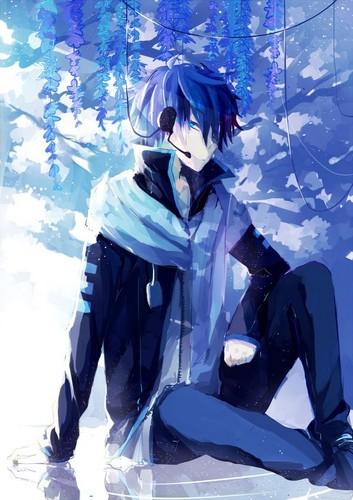 Anime guy with dark blue hair