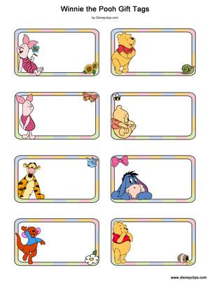 Walt Disney Crafts - Piglet, Winnie the Pooh, Tigger, Eeyore, Roo Gift Tags
