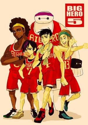 Wasabi, GoGo, Baymax, Tadashi and Fred