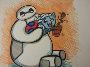 baymax catbug and groot door comix chick d89zy5y