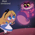 Walt Disney Fan Art - Alice Pleasance Liddell & The Cheshire Cat - walt-disney-characters fan art