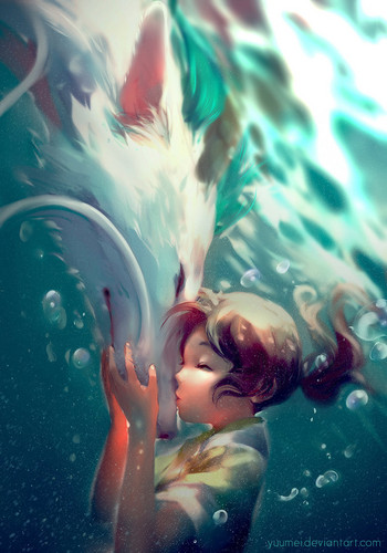 Spirited Away پیپر وال called dragon haku and chihiro.