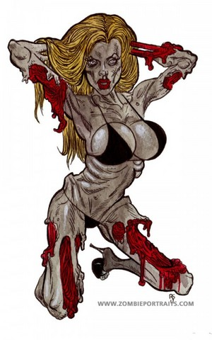 zombie pin ups zombie girl